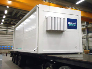 Large White Container with the Logo of Soletair Power